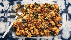 Cornbread stuffing with sausage and collard greens